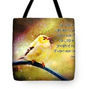 American Goldfinch Gazes Upward  - Series II  Digital Paint With Verse Tote Bag