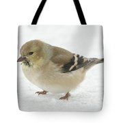 American Goldfinch In The Snow Tote Bag