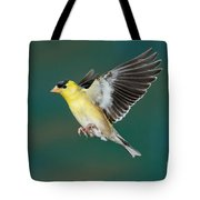 American Goldfinch Male-flying Tote Bag