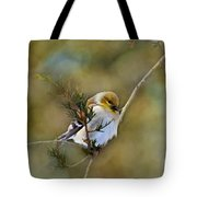 American Goldfinch On A Cedar Twig - Digital Paint Tote Bag