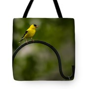 American Goldfinch Perched On A Shepherds Hook Tote Bag