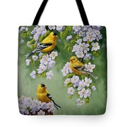 American Goldfinches And Apple Blossoms Tote Bag