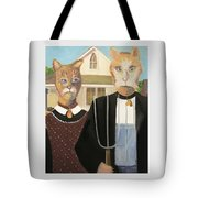 American Gothic Cat Tote Bag