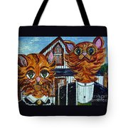 American Gothic Cats - A Parody Tote Bag