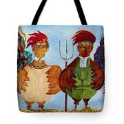 American Gothic Down On The Farm - A Parody Tote Bag