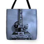 American Guitar In Cyan Tote Bag