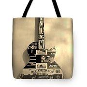 American Guitar In Sepia Tote Bag