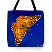 American Lady Butterfly Blue Square Tote Bag