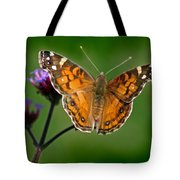 American Lady Butterfly With Green Background Tote Bag