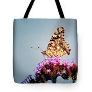 American Painted Lady Butterfly Blue Background Tote Bag
