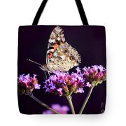 American Painted Lady Butterfly Purple Background Tote Bag