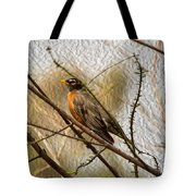 American Robin On A Branch Tote Bag