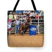 American Rodeo Female Barrel Racer White Blaze Chestnut Horse Iv Tote Bag by Sally Rockefeller