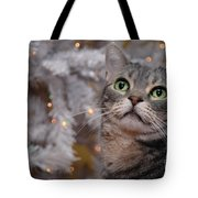 American Shorthair Cat With Holiday Tree Tote Bag