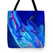 American Sign Language . . . Jesus . . . Blue Tote Bag by Eloise Schneider