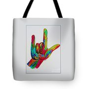 American Sign Language I Love You With A Border Tote Bag by Eloise Schneider