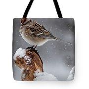 American Tree Sparrow In Snow Tote Bag