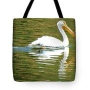 American White Pelican On A Lake Tote Bag