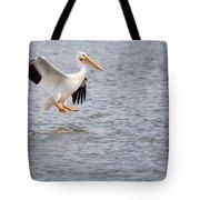 American White Pelican Water Landing 2 Tote Bag