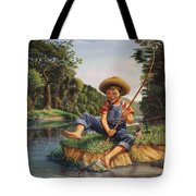 Americana - Country Boy Fishing In River Landscape - Square Format Image Tote Bag