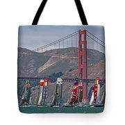 Americas Cup Catamarans At The Golden Gate Tote Bag