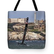 Americas Cup Oracle Team And Alcatraz Tote Bag