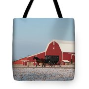 Amish Buggy And Red Barn Tote Bag