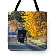 Amish Buggy And Yellow Leaves Tote Bag
