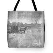 Amish Buggy In Old Book Tote Bag