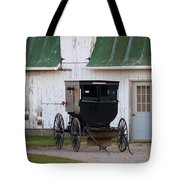Amish Buggy White Barn Tote Bag
