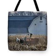 Amish Corn Picking And 1919 Barn Tote Bag