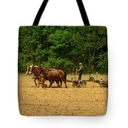Amish Farmer Tilling The Fields Tote Bag
