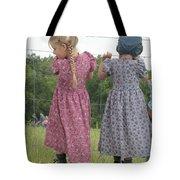Amish Girls Having Fun Tote Bag