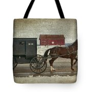 Amish Horse And Buggy And The Star Barn Tote Bag