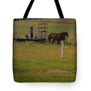 Amish Man And Two Sons On The Farm Tote Bag