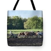 Amish Plowing Field Tote Bag