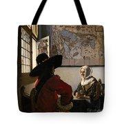 Amorous Couple Tote Bag by Jan Vermeer
