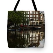 Amsterdam Canal Houses In The Rain Tote Bag