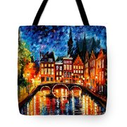Amsterdam-canal - Palette Knife Oil Painting On Canvas By Leonid Afremov Tote Bag