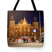 Amsterdam Central Station And Metro Entrance Tote Bag