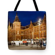 Amsterdam Central Station And Tram Stop At Night Tote Bag