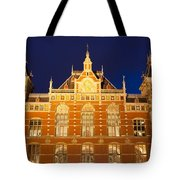 Amsterdam Central Train Station At Night Tote Bag