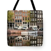 Amsterdam Houses By The Singel Canal Tote Bag