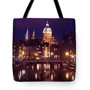 Amsterdam In The Netherlands By Night Tote Bag