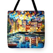 Amsterdam's Harbor - Palette Knife Oil Painting On Canvas By Leonid Afremov Tote Bag