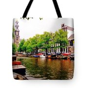 Amsterdams Westerkerk From The Canal  Tote Bag