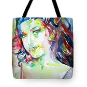 Amy Winehouse Watercolor Portrait.1 Tote Bag