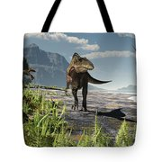 An Acrocanthosaurus Roams An Early Tote Bag by Arthur Dorety