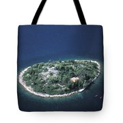 An Aerial View Of Two Kayakers Paddling Tote Bag