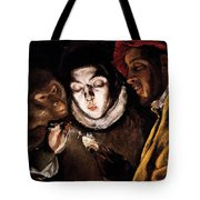 An Allegory With A Boy Lighting A Candle In The Company Of An Ape And A Fool Tote Bag